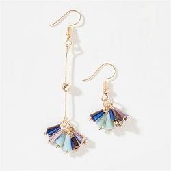 Littledesire Exquisite Colorful Asymmetrical Tassel Crystal Earrings