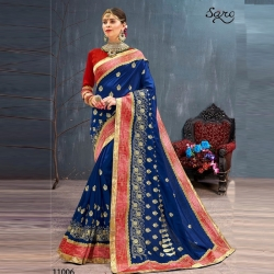 Littledesire Blue Embroidered Party Wear Bangalori Saree