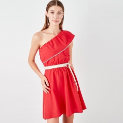 Littledesire Red One Shoulder Mini Dress