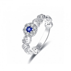 Littledesire Style Round Cut Blue & Zircon Silver 925 Ring
