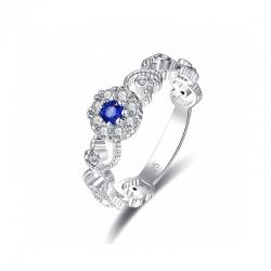 Littledesire Style Round Cut Blue & Zircon Silver 925 Ring