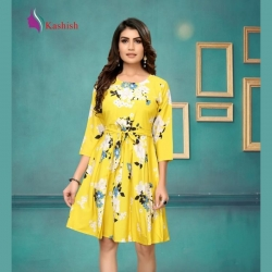 Littledesire Round Neck Floral Print Yellow Dress