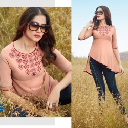 Latest Stylish Embroidered Boat Neck Short Kurti Top