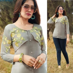 Round Neck Embroidered Grey Short Kurti Top