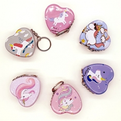 Heart Shape Metal Mini Tin Storage Box With Key Chain Pack Of 6