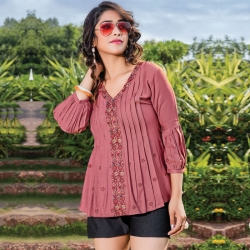 Embroidered Floral Short Kurti Top