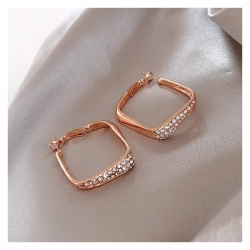 Square Hoop Crystal Earrings