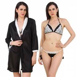 Littledesire Bra & Thong Satin Night Robe 3 Pcs Set