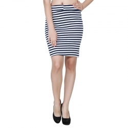 Black & White Striped Print Short Pencil Skirt