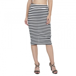 Littledesire Striped Print Calf Length Pencil Skirt