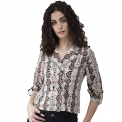 Women Beige & Brown Snakeskin-Print Shirt