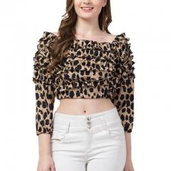 Leopard Print Off Shoulder Ruffle Crop Top