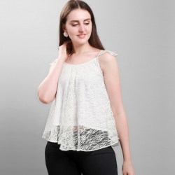 High Quality Sleeveless Lace White Beach Club Fashion Top