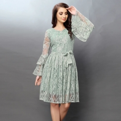 Tiered Bell Sleeves Lace Design Party Wear Dress