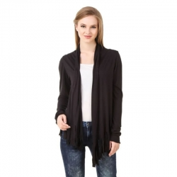 Viscose Plain Casual Full Sleeve Black Shrug