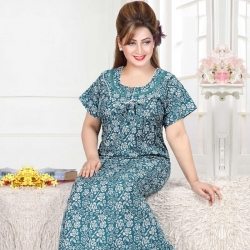 Round Neck Floral Print Spun Nighty