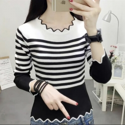 Fashion Knitted Long Sleeve Striped Print Sweater