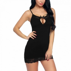 Bow Design Keyhole Neck Full Slip Babydoll Nightwear Dress