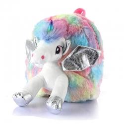 Unicorn Faux Fur Rainbow Colour Shoulder Backpack