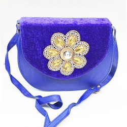 Stone Fancy Shoulder Sling Blue Bag