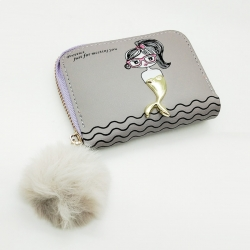 Cute Girl Print Mini Purse PU Leather Zipper Wallet