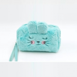 Faux Fur Cute Travel Zipper Makeup Pouch