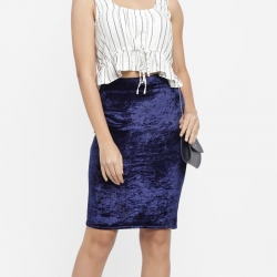 Formal Wear Solid Knee Length Velvet Skirt