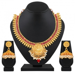 Gold Plated Temple Work Necklace With Jhumki Earrings