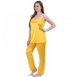 Plain Sleeveless Top & Pajama Set for Women