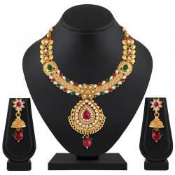 Classic Gold Plated Kundan Choker Necklace Set