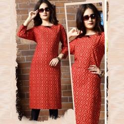 Littledesire Printed Straight Red Cotton Kurta