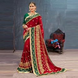Littledesire Red Embroidered Bangalori Party Wear Saree