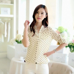Korean Style Dotted Long Sleeve Shirt