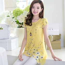 Littledesire Floral Print Long Yellow Top
