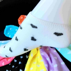 White Color Heart Print Socks