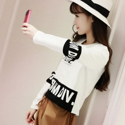 Korean Short Black and White Crop T-Shirt