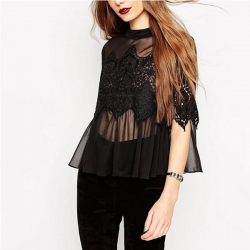 Littledesire  Solid Floral Lace Tops