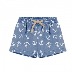 Anchor Print High Waist Shorts