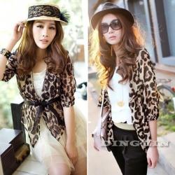 Women Leopard Print Chiffon Shrug