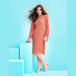 Ribbon Sleeve High Collar Georgette Party Wear Kurta