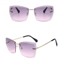 Rimless Clear Lens Square Sunglasses