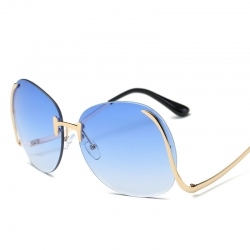 Metal Curved Legs Oversized Sunglasses