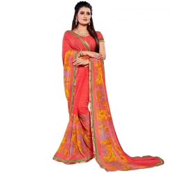 Littledesire Georgette Printed Weightless Saree with Blouse