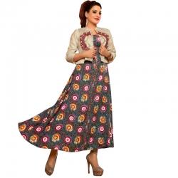 Littledesire Long Stylish With Short Jacket Printed Kurta