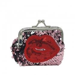 Red Lip Sequins Handy Clutch Mini Wallet - 3.5 inch