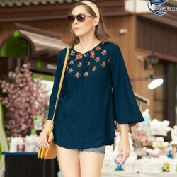 Littledesire Embroidered Work Bell Sleeve Top