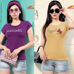 Littledesire Purple & Beige Cotton T-Shirt Pack of 2