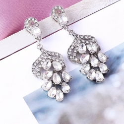 Littledesire Cubic Zirconia Leaf Long Pendant Drop Dangle Earrings