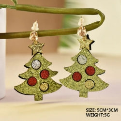 Glitter Christmas Tree Drop Earrings