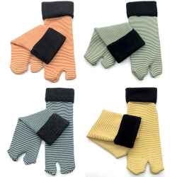 Striped Print Soft Faux Fur Thermal With Thumb Women Warm Socks 4 Pairs